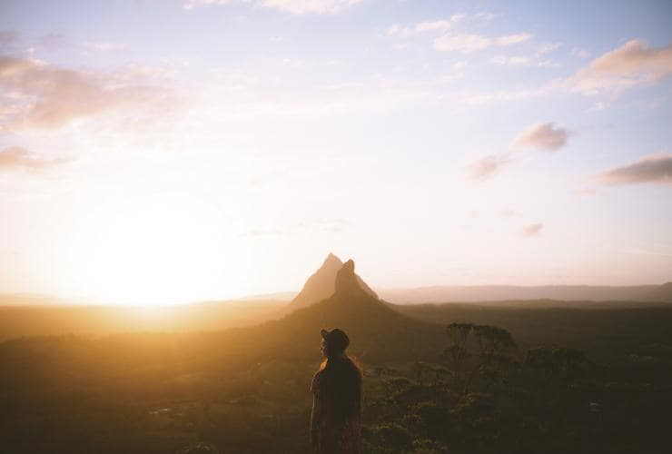 Sunset Mt Ngungun, Glass House Mountains, Sunshine Coast, Queensland © Tourism and Events Queensland