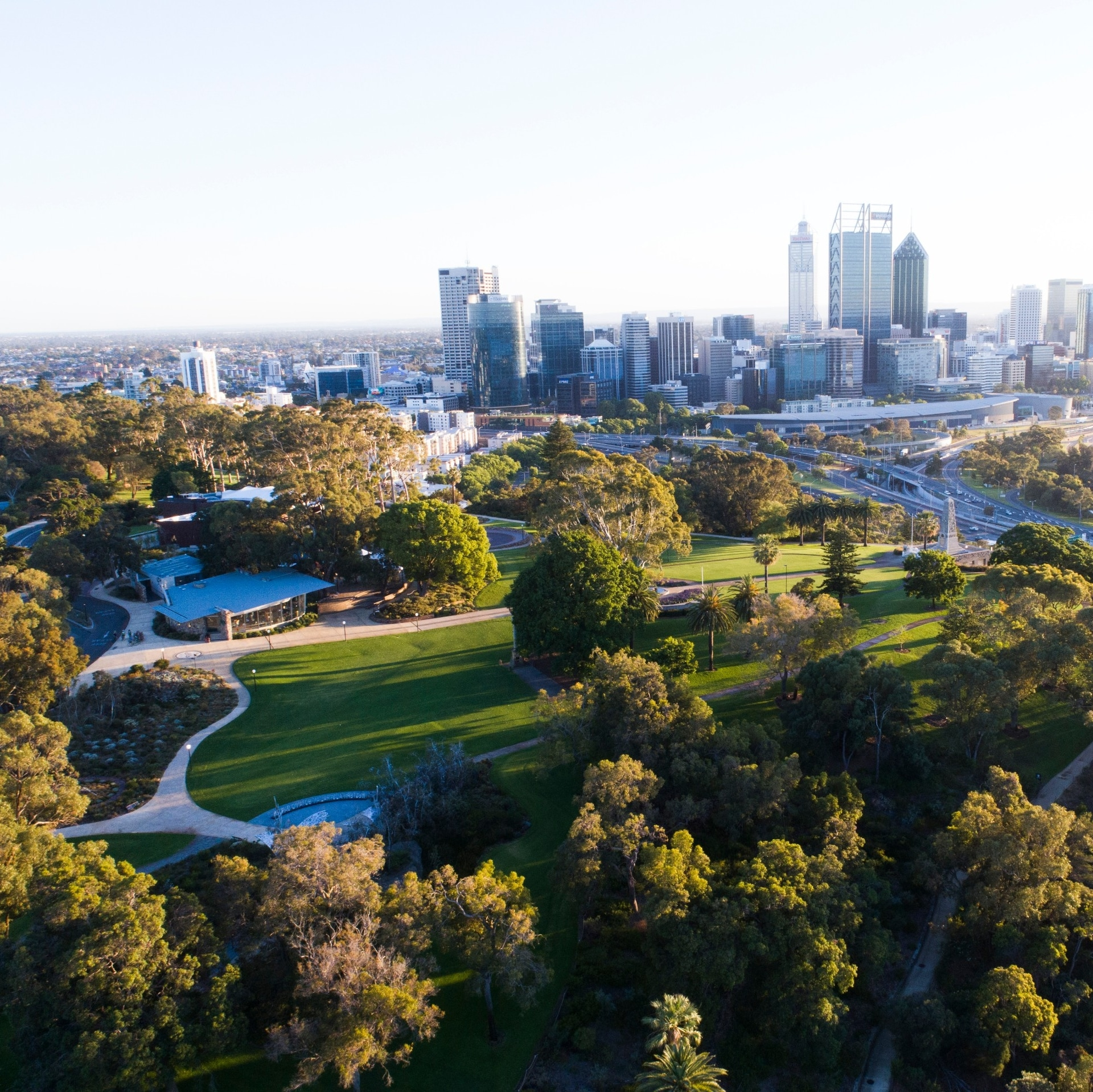 Luftaufnahme vom Kings Park and Botanical Gardens in Perth © Tourism Western Australia
