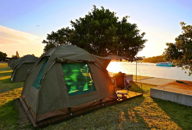 Glamping auf Cockatoo Island, Sydney, New South Wales © Harbour Trust