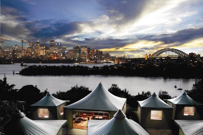 Roar and Snore Glamping-Erlebnis, Taronga Zoo, Sydney, New South Wales © Taronga Zoo