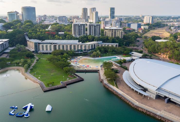 Aerial view over Darwin's Waterfront Precinct © Tourism NT/Summersite