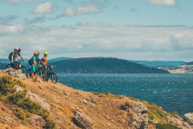 Mountain biking, Maria Island National Park, TAS © Flow Mountain Bike