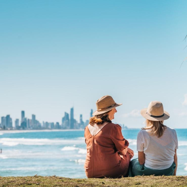 Women overlooking the beach in Burleigh Head National Park © Tourism and Events Queensland