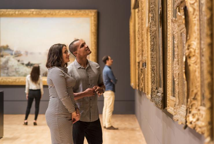 Visitors admiring artworks at the National Gallery of Victoria © Robert Blackburn
