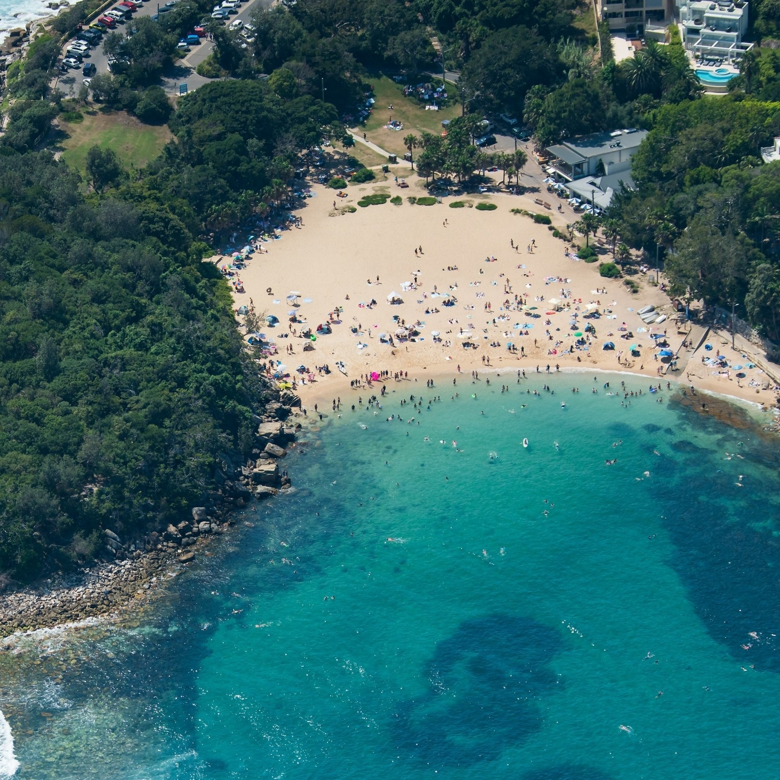 Aerial view over Shelly Beach in Sydney © Destination NSW