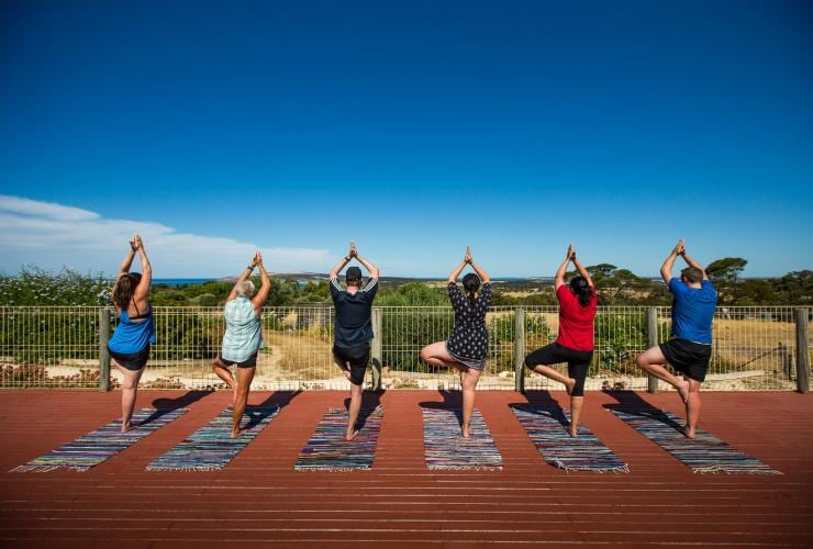 Participants posing during a yoga class at Kangaroo Island Health Retreat © Kangaroo Island Health Retreat