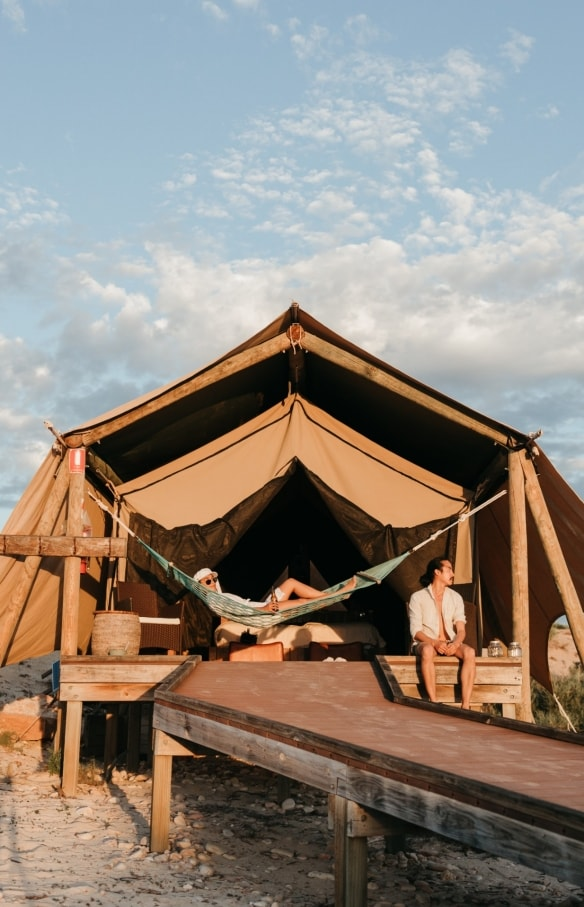 Aerial of glamping tents at Sal Salis in Western Australia © Aquabumps