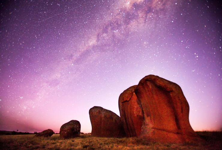Murphy's Haystacks granite boulders underneath sky of stars © John White