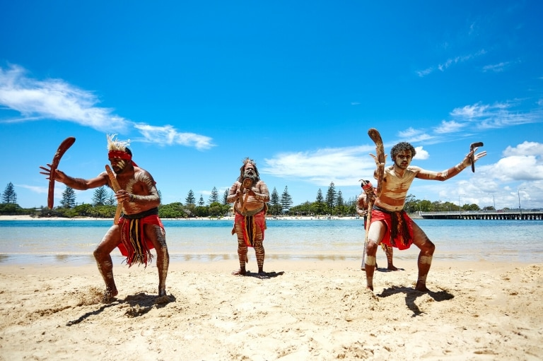 Aboriginal performance on the  Jellurgal Cultural Tour, Burleigh Heads, Queensland © Chris Proud, Tourism and Events Queensland