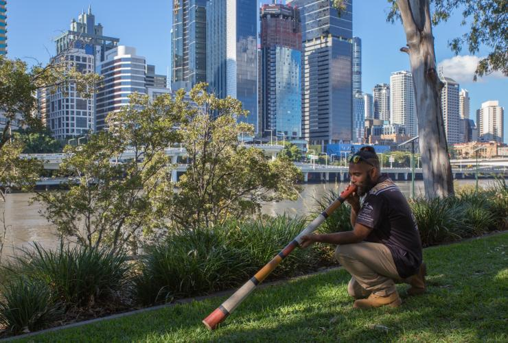 Didgeridoo performer with  BlackCard Cultural Tours in Brisbane © Telan Lindsey Photography/BlackCard Cultural Tours