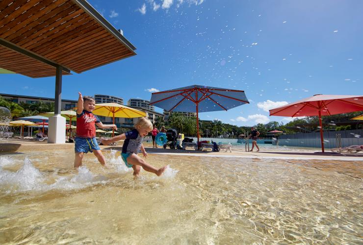 visitors splashing around at the Darwin Waterfront's wave lagoon © Tourism NT/Peter Eve