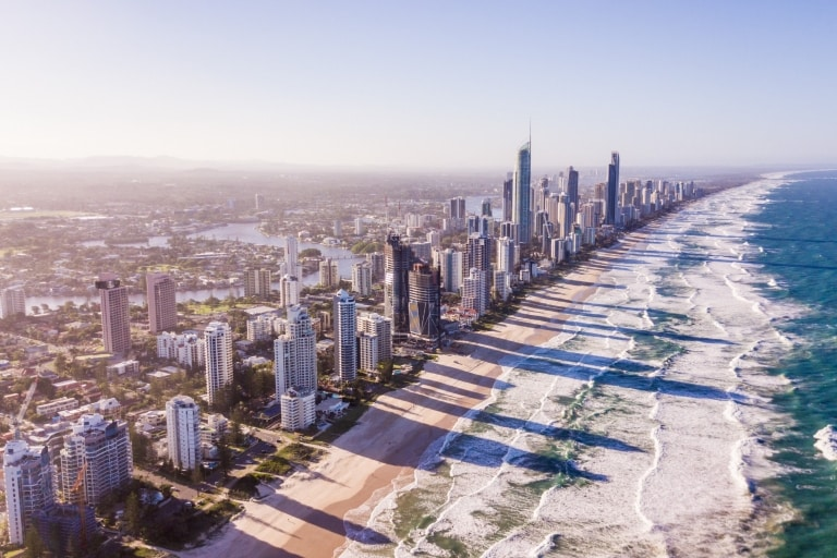 Aerial view of the Gold Coast skyline © Tourism Australia