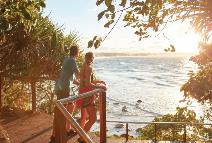 Couple at viewpoint looks out over the beach at Coolangatta © Matt Harvey/Tourism and Events Queensland