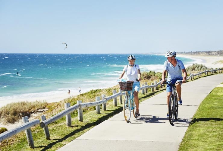 Cycling, Cottesloe Beach, Perth, WA © Tourism Western Australia