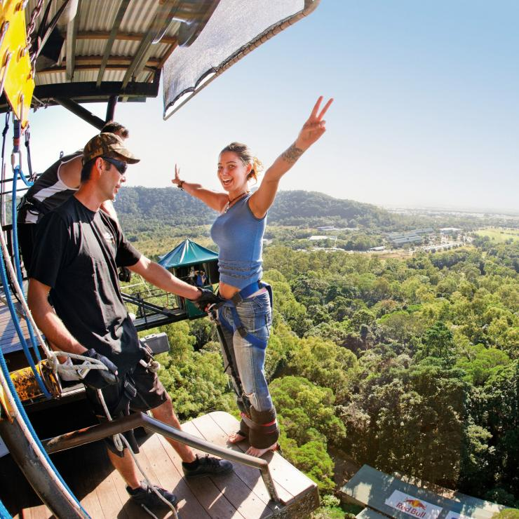 Bungee-jumper at AJ Hackett Bungy Jumping in Cairns © Tourism and Events Queensland