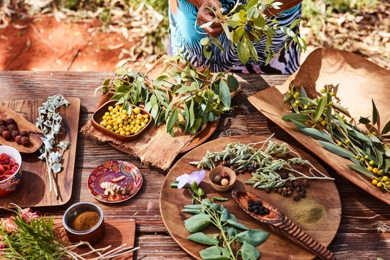 Native ingredients on a table at Ayers Rock Resort © Voyages