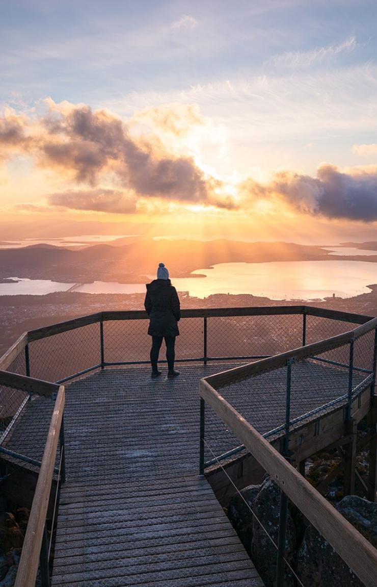Woman standing at lookout, Mount Wellington, Hobart, TAS © Daniel Tran