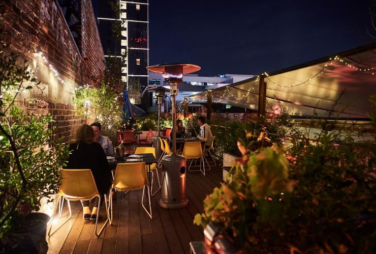 The courtyard of The Standard bar at night © The Standard