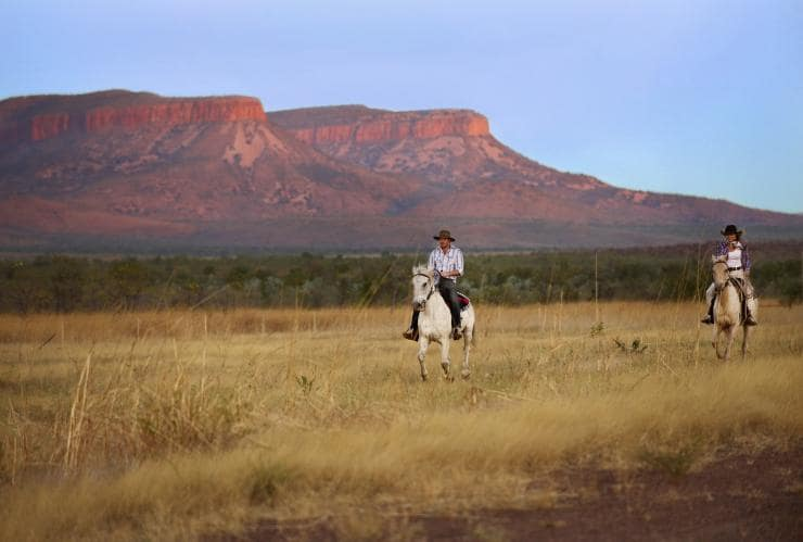 Two people horse Riding at Home Valley Station © Tourism Western Australia