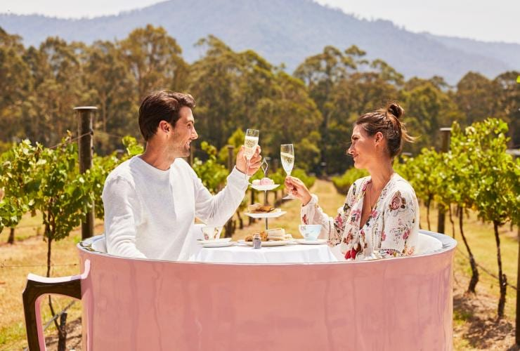 Couple clinks their glasses of champagne at Cambewarra Estate Winery © Destination NSW