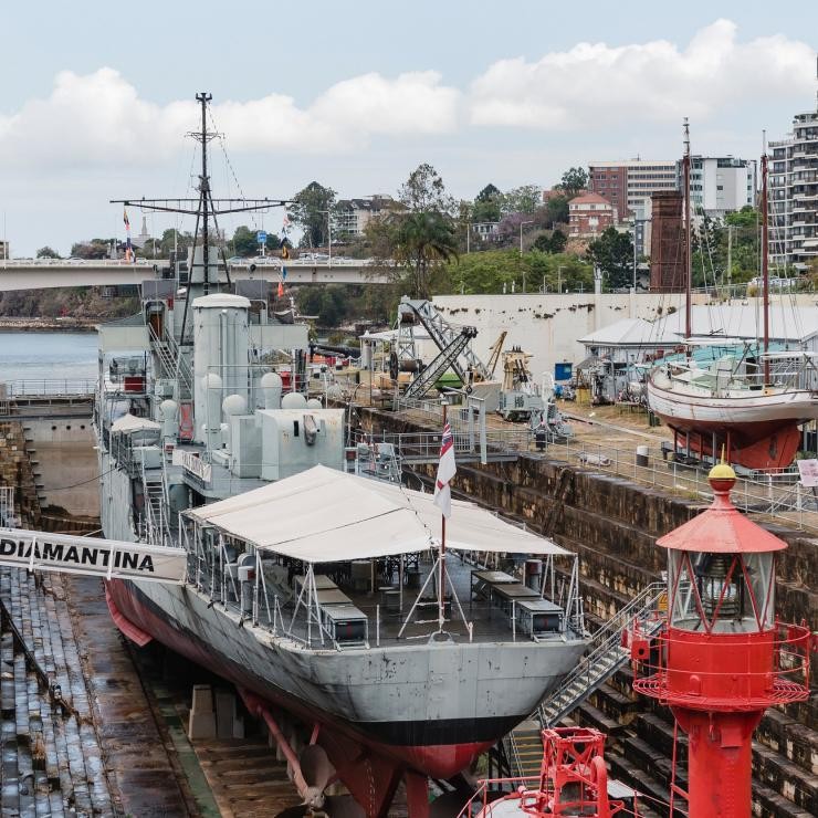 River-class frigate HMAS Diamantina at heritage-listed South Brisbane Dry Dock, Queensland Maritime Museum, Brisbane, Queensland © Museum Network Queensland