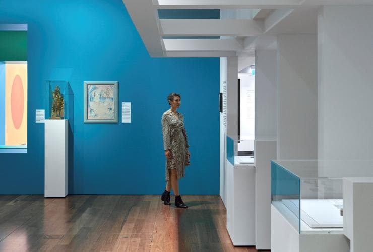 A woman looks at the Bauhaus Now exhibition at the Museum of Brisbane, Brisbane, Queensland, © Toby Scott, Museum of Brisbane
