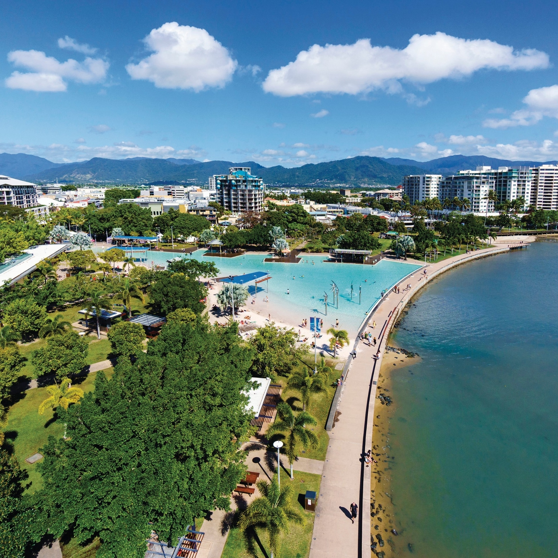 Aerial view of Cairns esplanade and lagoon © Tourism and Events Queensland