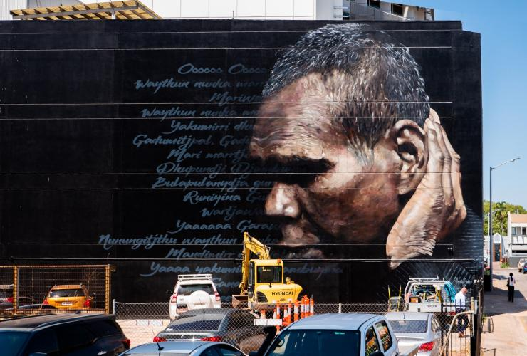 Dr G Yunupingu mural in Darwin © Tourism NT/Darwin Street Art Festival/Jesse Bell and Andrew Bourke