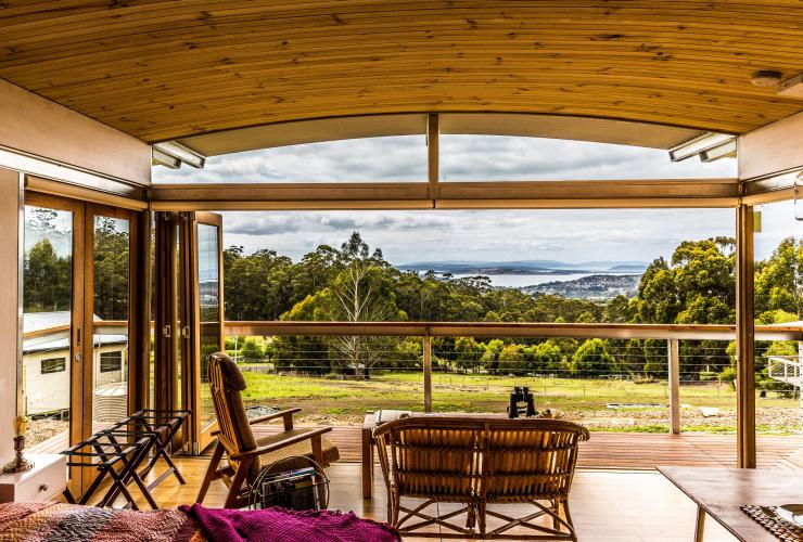 View of a paddock from Hobart Hideaway Pods © Hobart Hideaway Pods