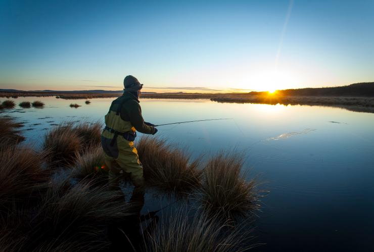 Fishing at Thousand Lakes Lodge, Liawenee, TAS © Brad Harris