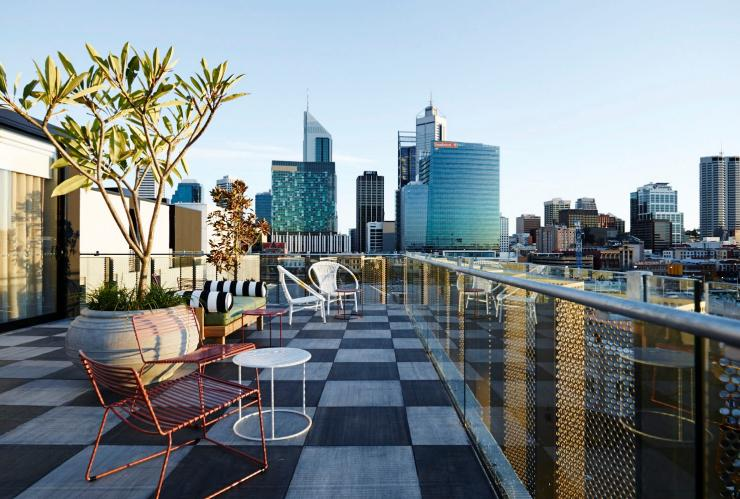 View of the Perth city skyline from the rooftop of the Alex Hotel in Perth © Alex Hotel