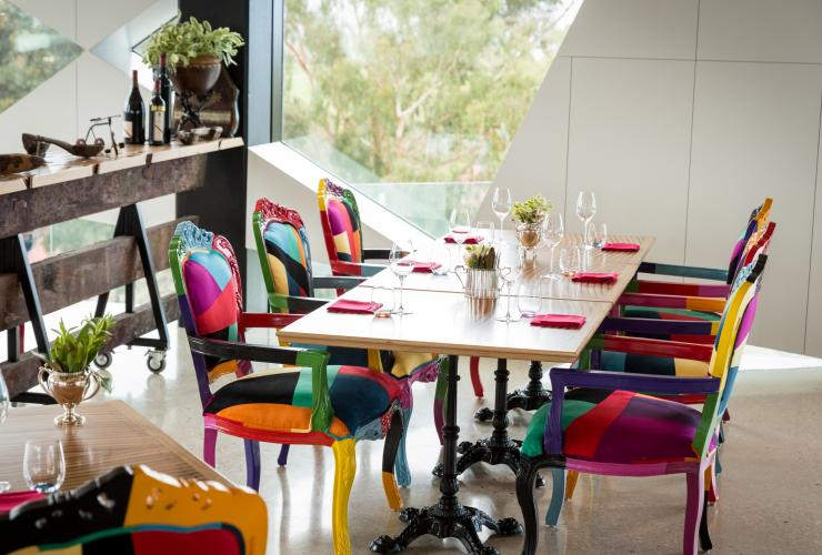 Tables set for service at d'Arenberg Cube restaurant © d'Arenberg