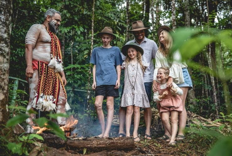Family taking part in the Pamagirri Rainforest Walkabout Tour at the Rainforest Nature Park © Tourism and Events Queensland