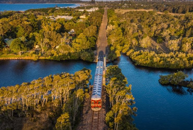 Aerial view of the Byron Solar Train moving through bushland © Byron Solar Train