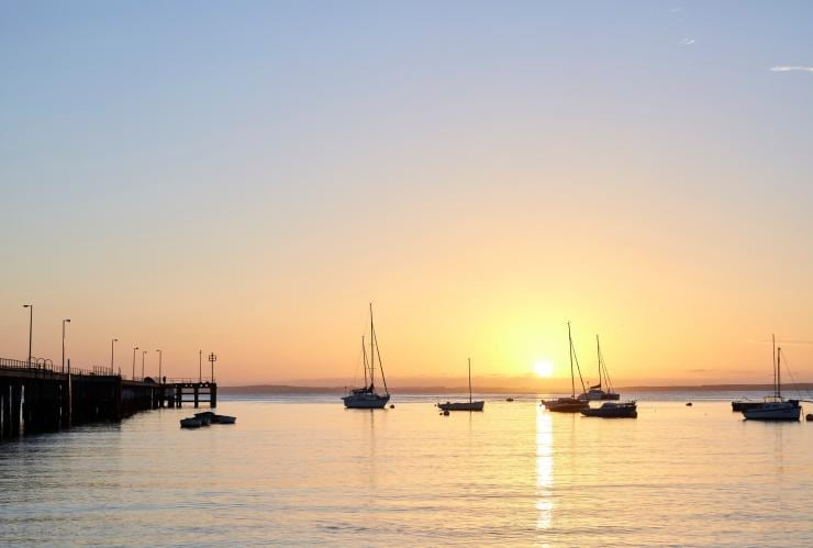 Sunset over the marina in Dromana © Visit Victoria