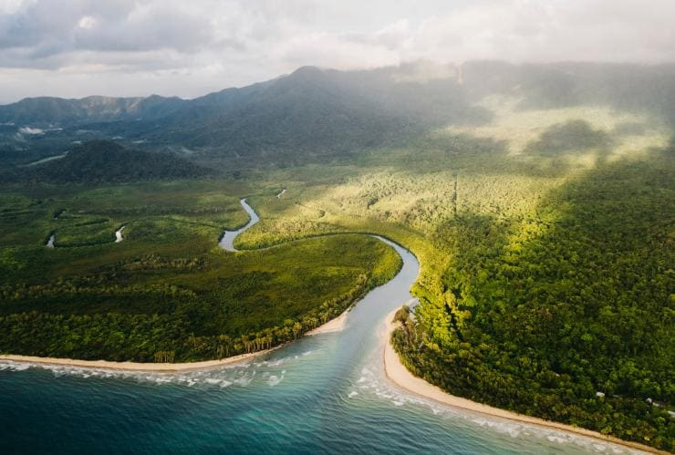 Aerial shot of Thornton Beach, Daintree Rainforest, Queensland © Tourism Tropical North Queensland