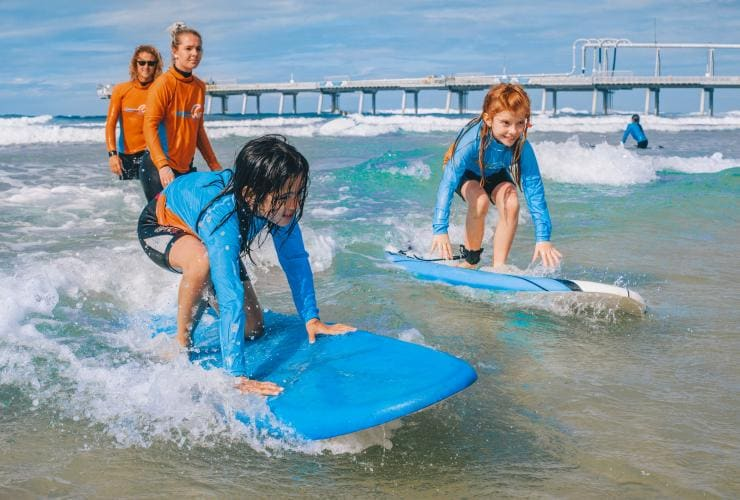 Kids lesson at Get Wet Surf School on the Gold Coast © Get Wet Surf School