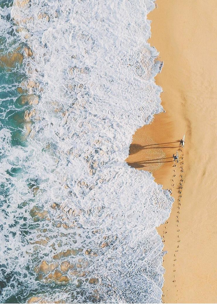 Aerial of surfers at Palm Beach near Sydney © Adam Krowitz