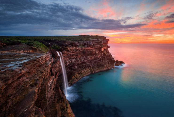 Sunrise at Curracurrong Falls and Eagle Rock in the Royal National Park, Sydney © Destination NSW