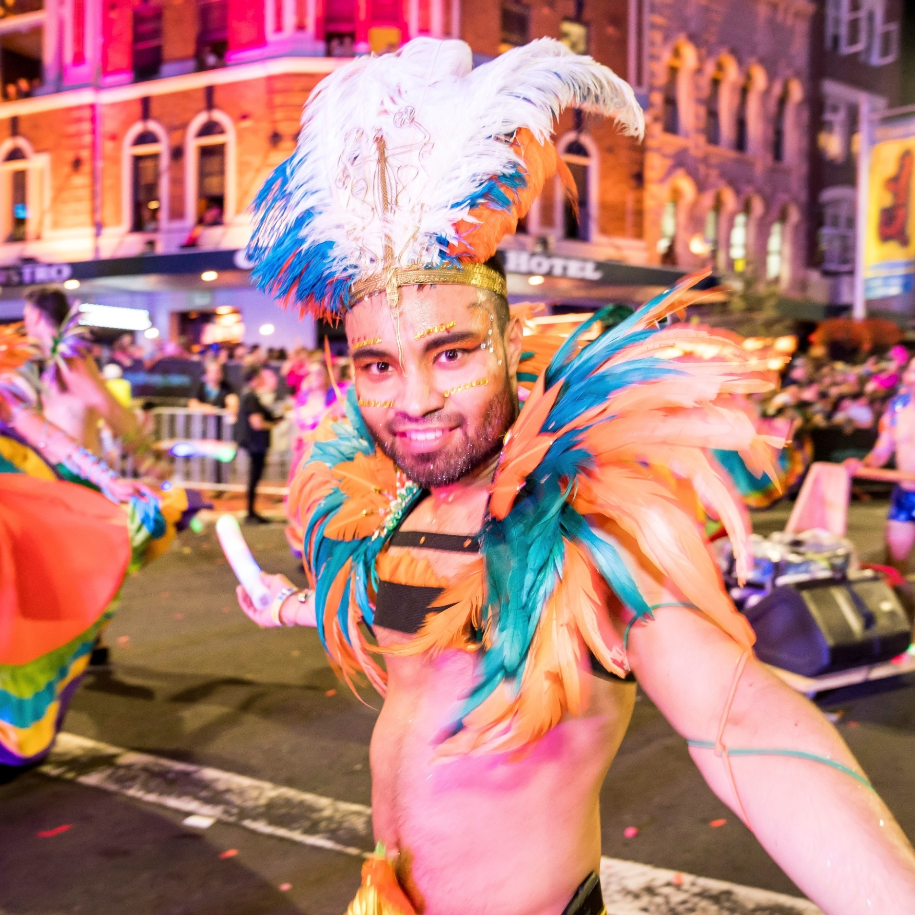 Man in colourful costume in the Mardi Gras parade in Darlinghurst © Jeffrey Feng