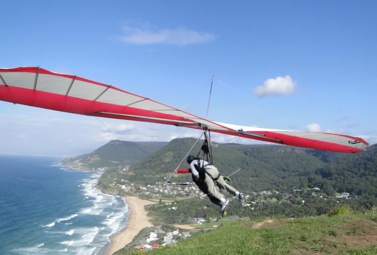 Hanggliders flying over the coastline near Wollongong © HangglideOz