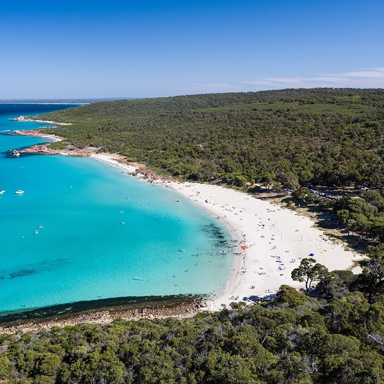 Drone shot of coastline at Meelup Beach in Dunsborough © Tourism Australia