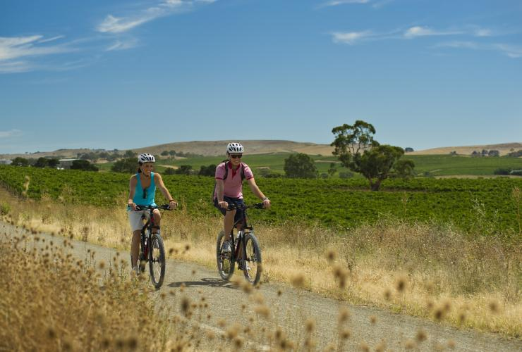 Two people bike riding the Riesling Trail in Clare Valley, Adelaide, South Australia © Mike Annese