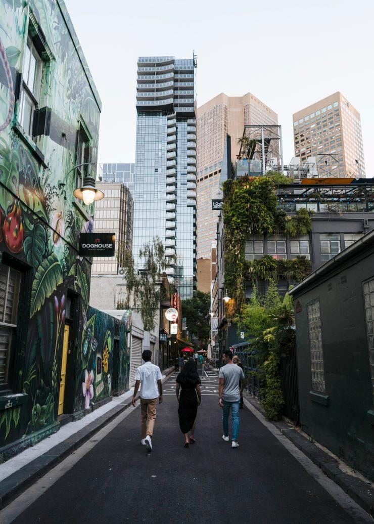 Walking down Meyers Place in Melbourne © Visit Victoria