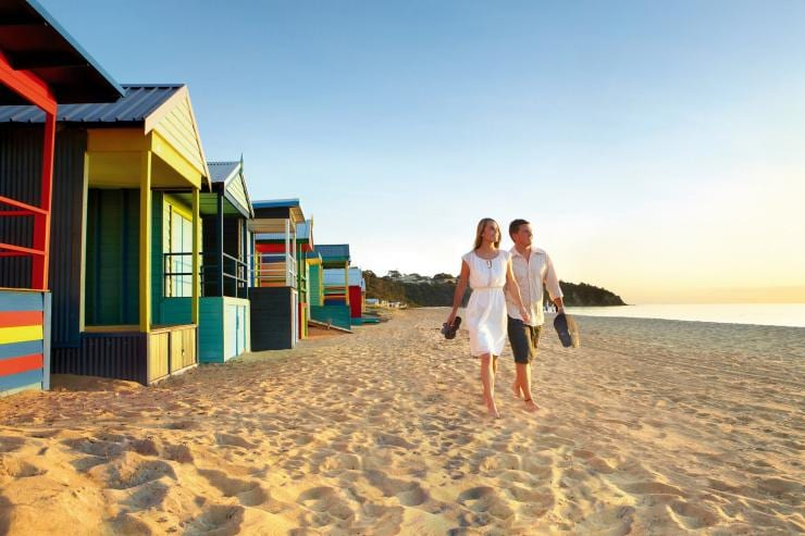 Bathing Boxes, Mornington Beach, VIC © Ewen Bell, Tourism Australia