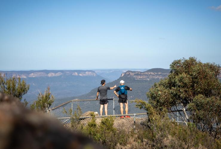 Two men enjoy a view of the Blue Mountains © Boomtown Pictures