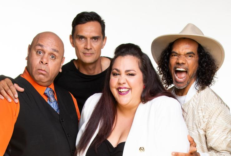 Kevin Kropinyeri, Andy Saunders, Steph Tisdell and Sean Choolburra, Aboriginal Comedy Allstars © Aboriginal Comedy Allstars