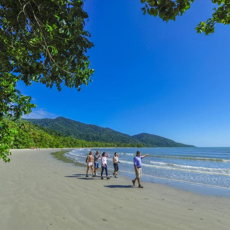 Tour group walking along the beach at Cape York Peninsula © Outback Spirit