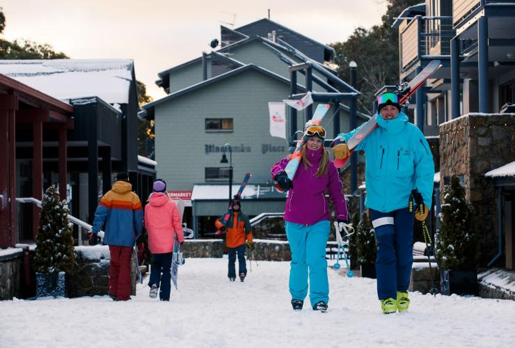 People walking through Thredbo Village in the Snowy Mountains © Tourism Snowy Mountains
