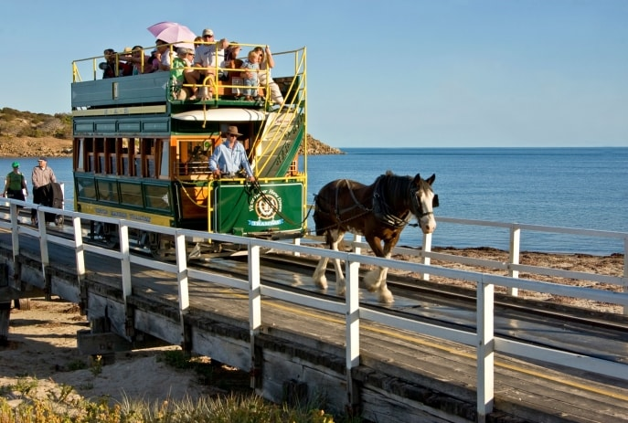 Granite Island Tram, Victor Harbor, SA. © Graham Scheer, South Australia Tourism Commision
